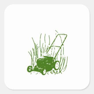 Lawn Mower Square Sticker