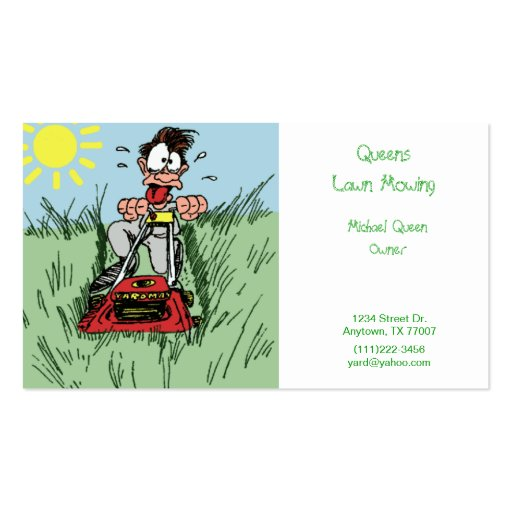 Lawn mowing business card zazzle for Mowing business cards