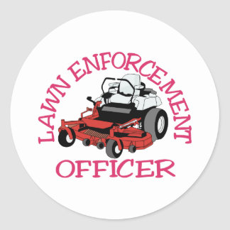 Lawn Officer Classic Round Sticker