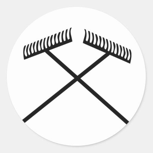 lawn rake crossed classic round sticker