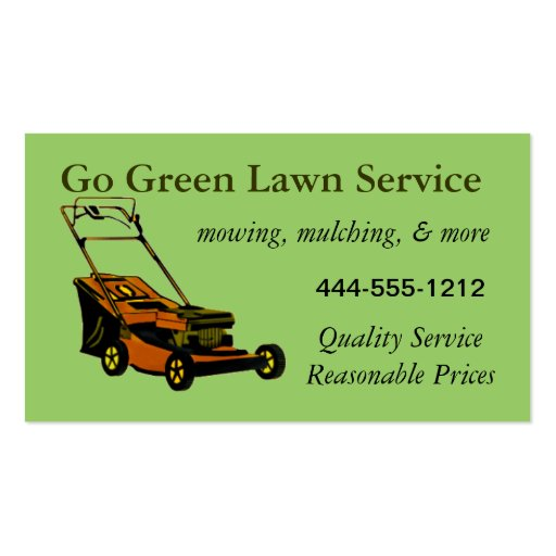 Lawn Service Business Card with mower customizable