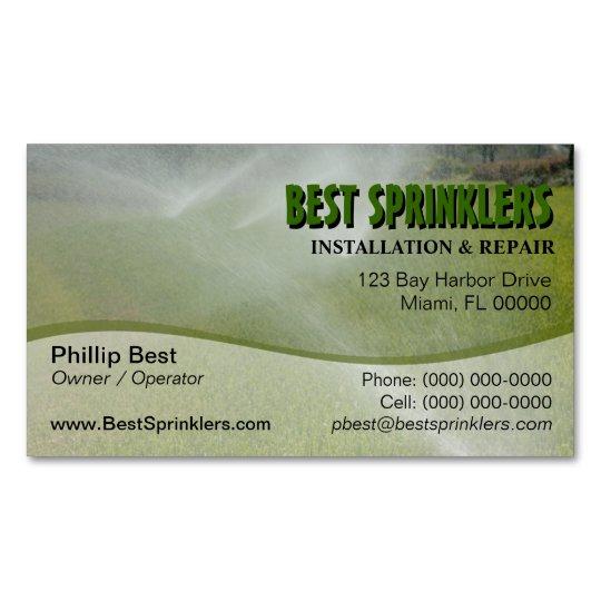 Lawn Sprinkler Landscaping Business Card Magnet Zazzle