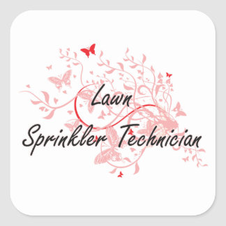 Lawn Sprinkler Technician Artistic Job Design with Square Sticker