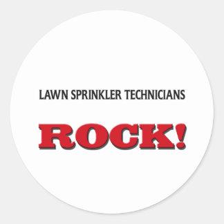 Lawn Sprinkler Technicians Rock Round Stickers