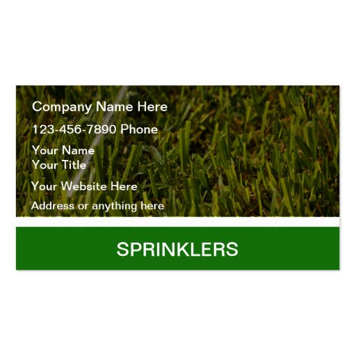 Lawn Sprinklers Business Cards
