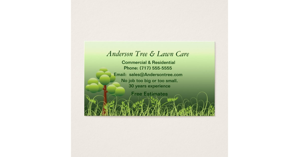 Lawn & Tree Service Business Card | Zazzle.com