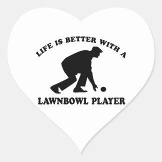 Lawnbowling vector designs heart sticker