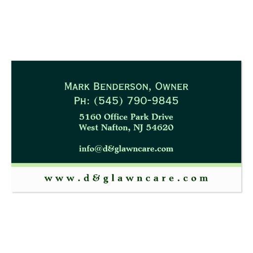 Lawncare or Landscaping Square Leaf Business Card (back side)