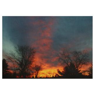 Lawndale Cemetary Fiery Sunset II Wood Poster