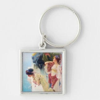 """Lawrence Alma-Tadema (1895) """"una esquina de Vantag Llavero Cuadrado Plateado"""