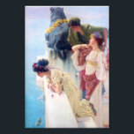"Lawrence Alma Tadema A Coign of Vantage Photo Print<br><div class=""desc"">Lawrence Alma Tadema A Coign of Vantage print. Oil painting on canvas from 1895. One of British artist's Sir Lawrence Alma-Tadema's most beloved paintings, A Coign of Vantage features three roman women staring out from a balcony looking a a blue harbor beyond. All women where lovely flowers in their hair...</div>"