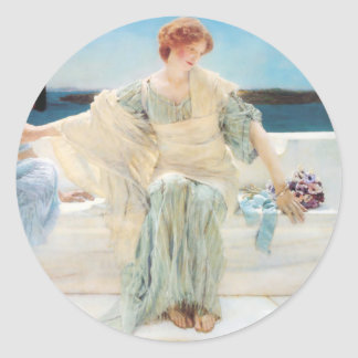Lawrence Alma Tadema Ask Me No More Classic Round Sticker