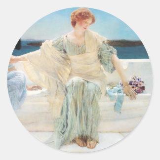 Lawrence Alma Tadema Ask Me No More Classic Round Sticker