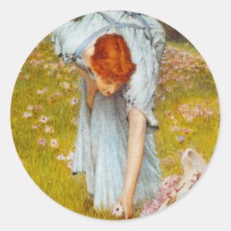 Lawrence Alma Tadema Spring in the Garden Classic Round Sticker