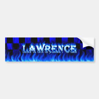Lawrence blue fire and flames bumper sticker desig car bumper sticker