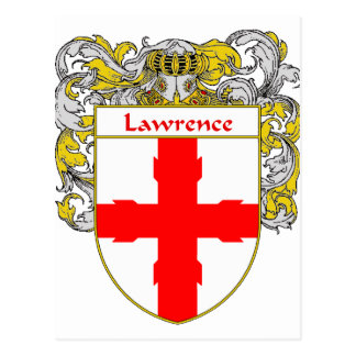 Lawrence Coat of Arms/Family Crest (Mantled) Postcard