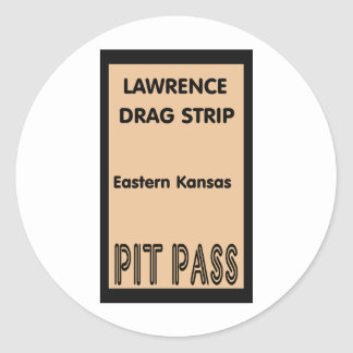 Lawrence Drag Strip Pit Pass Classic Round Sticker