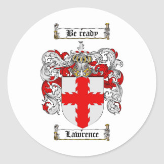 LAWRENCE FAMILY CREST -  LAWRENCE COAT OF ARMS CLASSIC ROUND STICKER