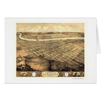 Lawrence, KS Panoramic Map - 1869 Greeting Card
