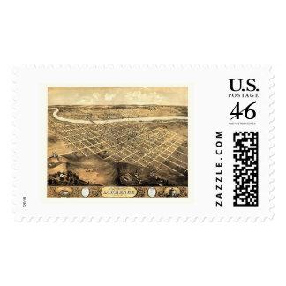Lawrence KS Panoramic Map - 1869 Stamp
