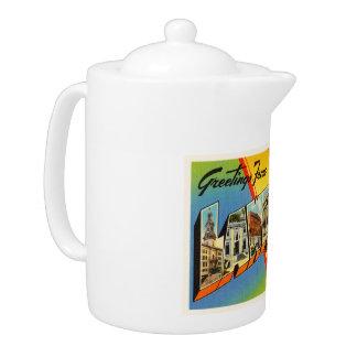 Lawrence Massachusetts MA Vintage Travel Souvenir Teapot