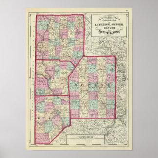 Lawrence, Mercer, Beaver, Butler counties Poster