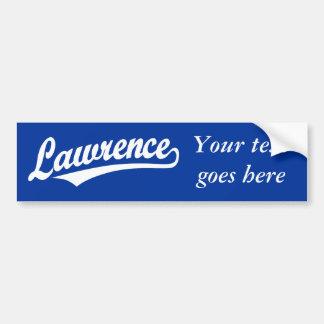 Lawrence  script logo in white car bumper sticker