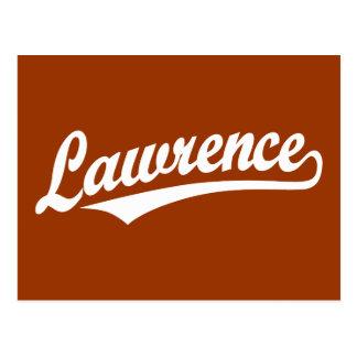 Lawrence  script logo in white postcard