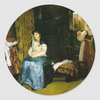 Lawrence Tadema- Birth Chamber,Seventeenth Century Round Sticker