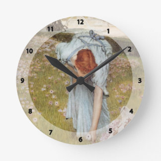 Lawrence Tadema:Flora Spring in the Gardens Wall Clock
