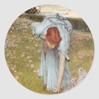 Lawrence Tadema:Flora Spring in the Gardens Round Sticker