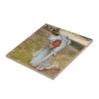 Lawrence Tadema:Flora Spring in the Gardens Ceramic Tile