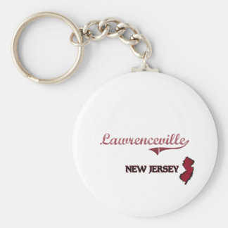 Lawrenceville New Jersey City Classic Basic Round Button Keychain