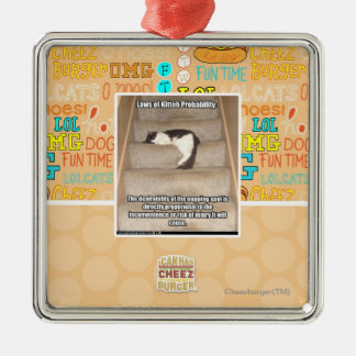 Laws of Kitteh Probability Square Metal Christmas Ornament