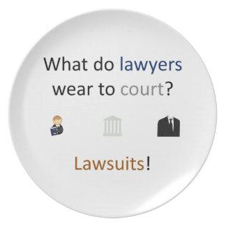 Lawsuits Joke Dinner Plate