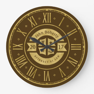 Lawyer 2017 Attorney At Law | Elegant Gold Brown Large Clock