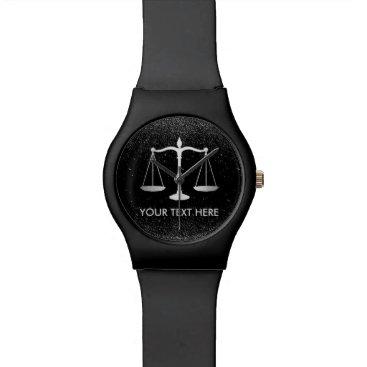 Lawyer Themed Lawyer Attorney at Law Black Glitter Professional Wristwatch