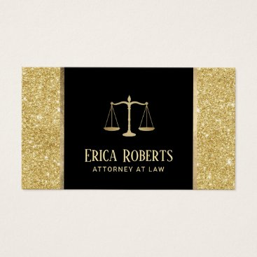Lawyer Themed Lawyer Attorney at Law Modern Gold Glitter Business Card