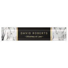 Lawyer Attorney at Law Modern Marble Background Nameplate