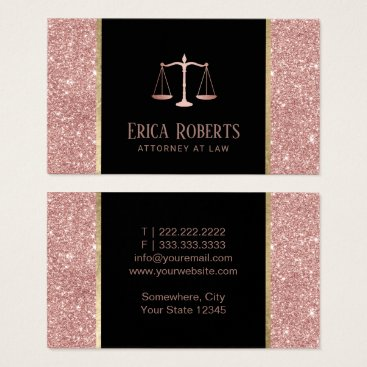 Lawyer Themed Lawyer Attorney at Law Modern Rose Gold Glitter Business Card
