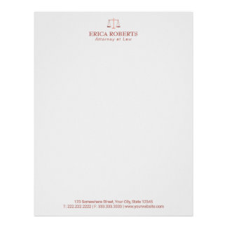 Lawyer Attorney at Law Rose Gold Scale of Justice Letterhead