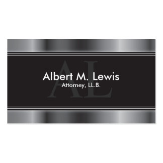 Lawyer Attorney Business Card - Silver Monogram
