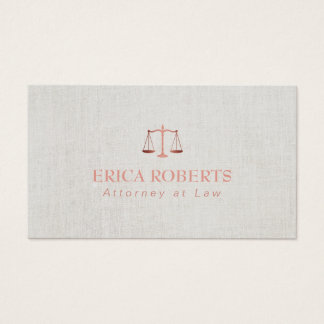 Law legal office attorney lawyer business cards templates zazzle lawyer attorney foil rose gold classy linen business card reheart Images