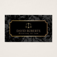 Lawyer Attorney Gold Scale Elegant Dark Floral Business Card at Zazzle