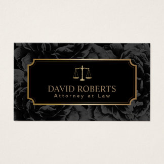 Lawyer Attorney Gold Scale Elegant Dark Floral Business Card