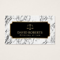Lawyer Attorney Gold Scale Modern Marble Texture Business Card at Zazzle