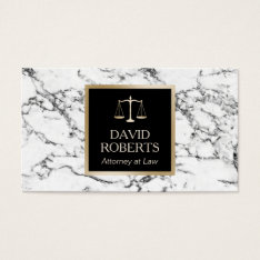 Lawyer Attorney Gold Scale Modern White Marble Business Card at Zazzle