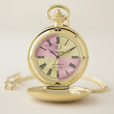 Lawyer Themed Lawyer / Attorney golden and rose pink chrome look Pocket Watch