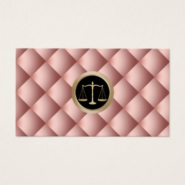 Lawyer Themed Lawyer Attorney Justice Scale Modern Rose Gold Business Card