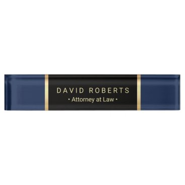 Lawyer Themed Lawyer Attorney Law Office Modern Blue & Gold Nameplate